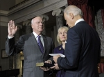 Vice President Joe Biden repeated the oath of office today to Senator Patrick Leahy as President Pro Tempore of the Senate on Capitol Hill in Washington. Leahy's wife, Marcelle Leahy, watches from the middle.