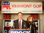 Lt. Gov. Phil Scott along with his wife, Diana McTeague Scott, celebrate winning re-election at the Capitol Plaza Hotel & Conference Center in Montpelier.