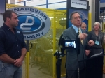 Gov. Peter Shumlin held his first post-election news conference at the Dynapower Company in South Burlington. It's the kind of business he says he will promote through a green jobs agenda.